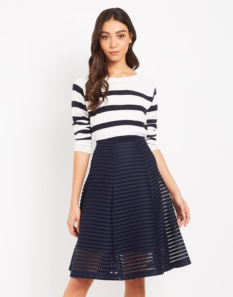 angeleye textured midi skirt in blue lyst