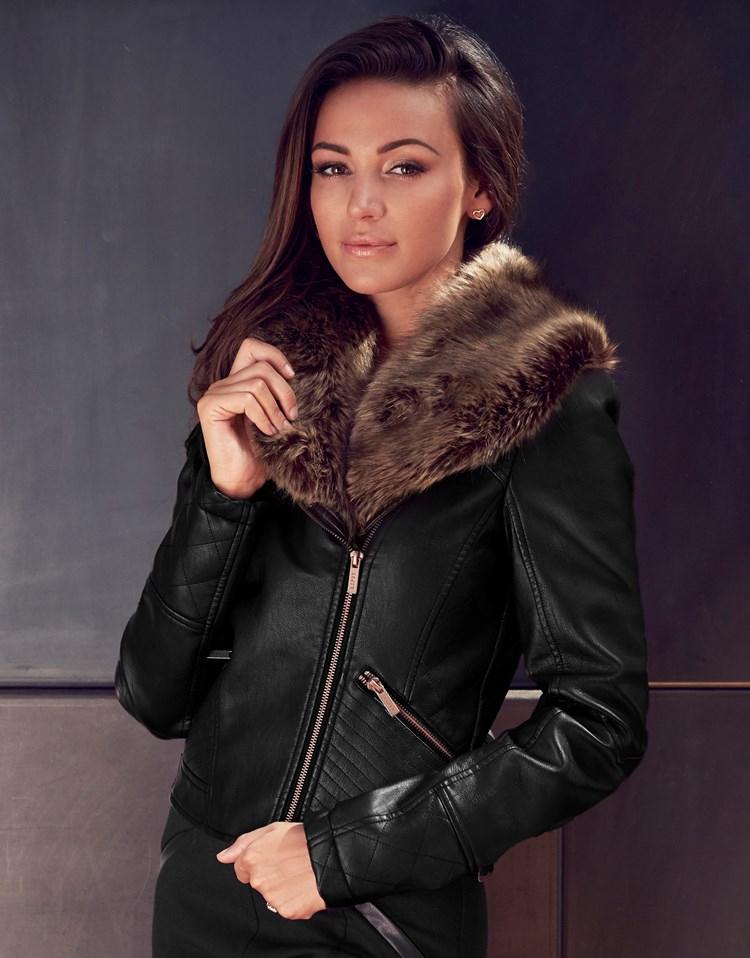 Lipsy Love Michelle Keegan Faux Fur Pu Jacket in Black