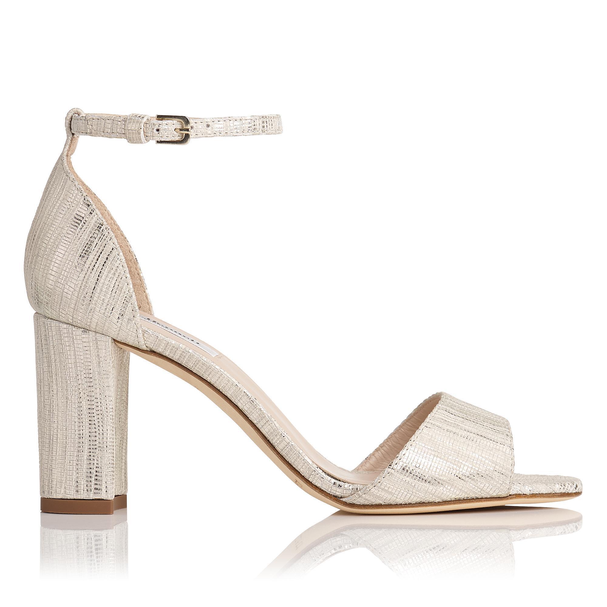 62639c3c16f2 L.K.Bennett Helena Cream Metallic Lizard Formal Sandals in Metallic ...