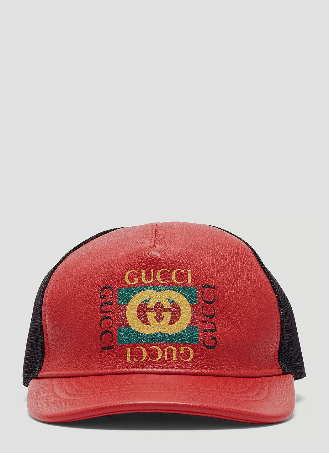 2fc6edbbdb6 Gucci - Red Print Leather Baseball Hat for Men - Lyst. View fullscreen