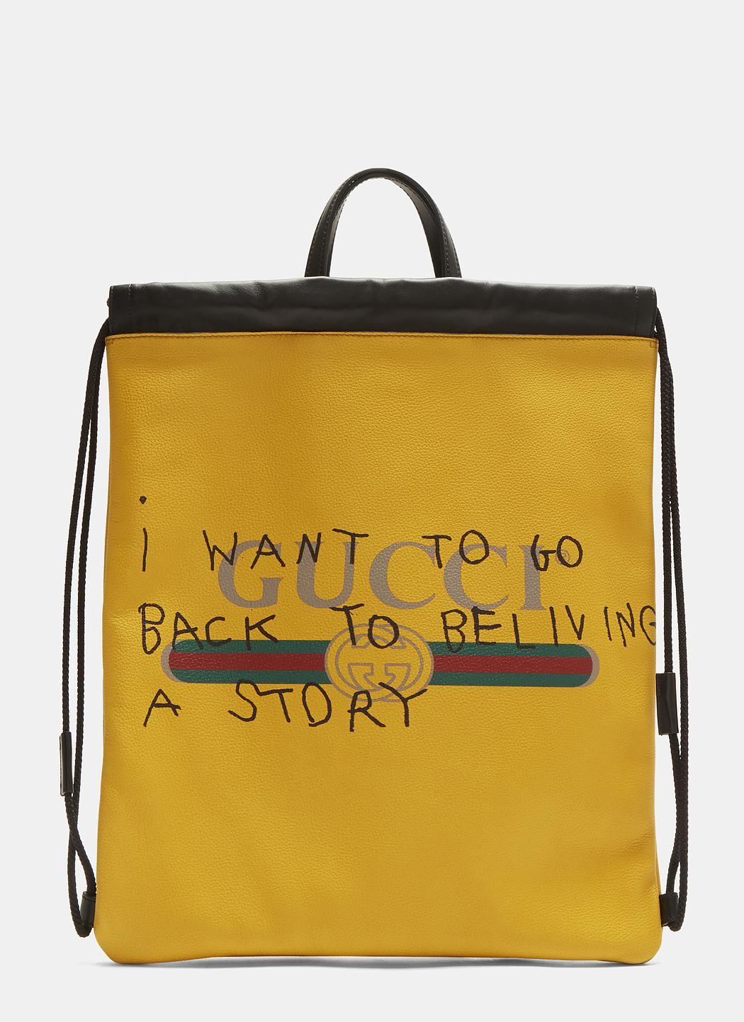 a8873c8b961d Gucci Coco Capitán Logo Backpack In Yellow in Yellow - Lyst