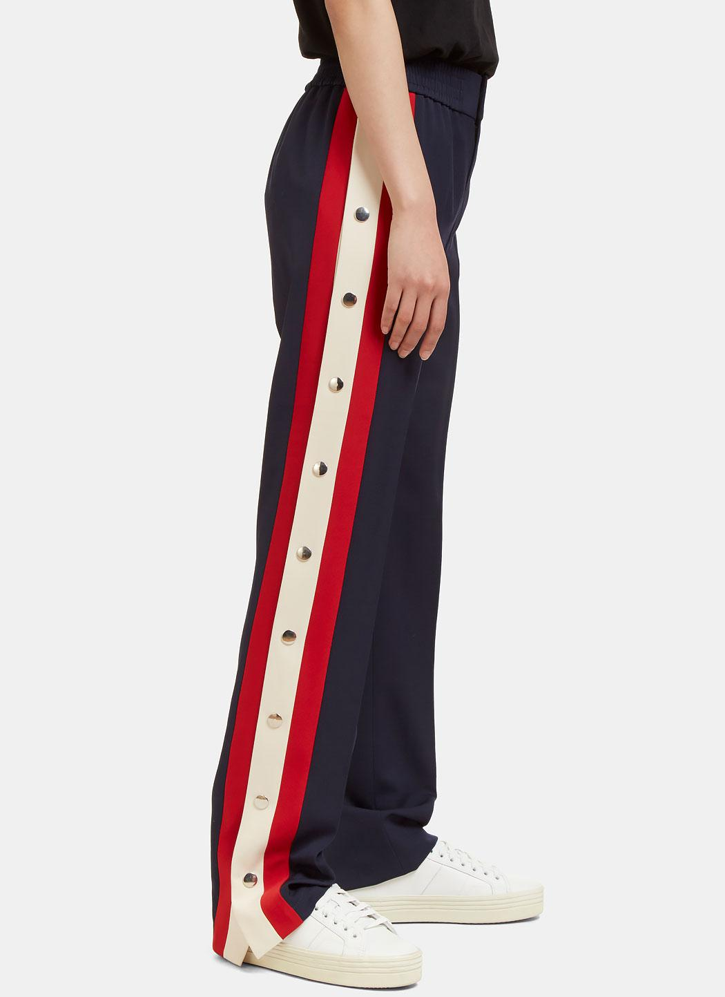 5cacab4f4 Gucci Women's Striped Wool Silk Jogging Pant In Navy in Blue - Lyst