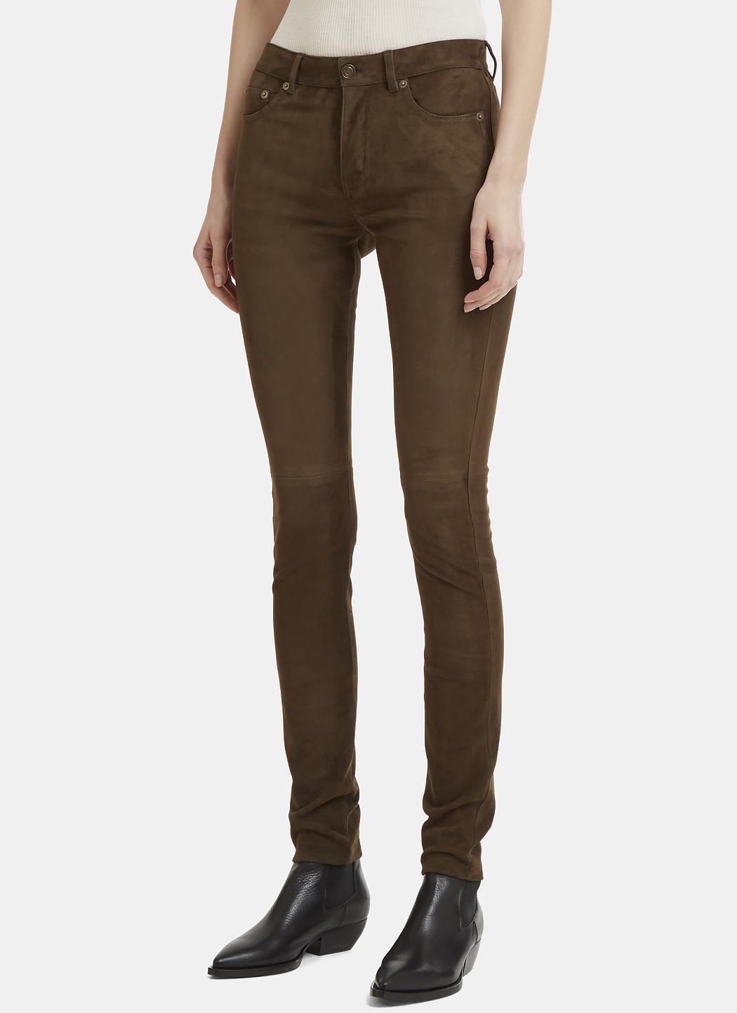 Suede Skinny Leg Pants Saint Laurent 832ZB