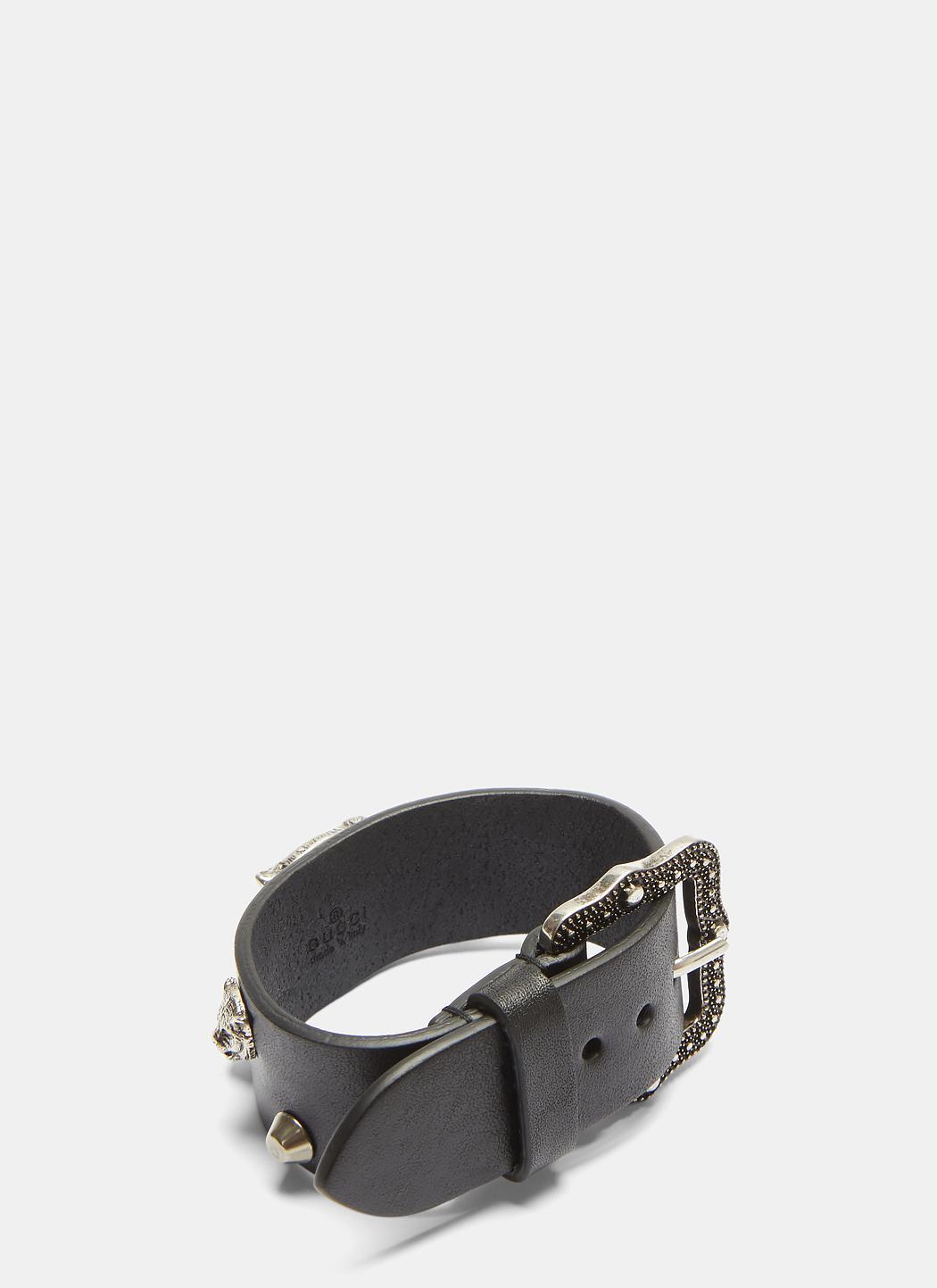 Gucci Feline Studded Leather Buckle Bracelet stZuhVoF