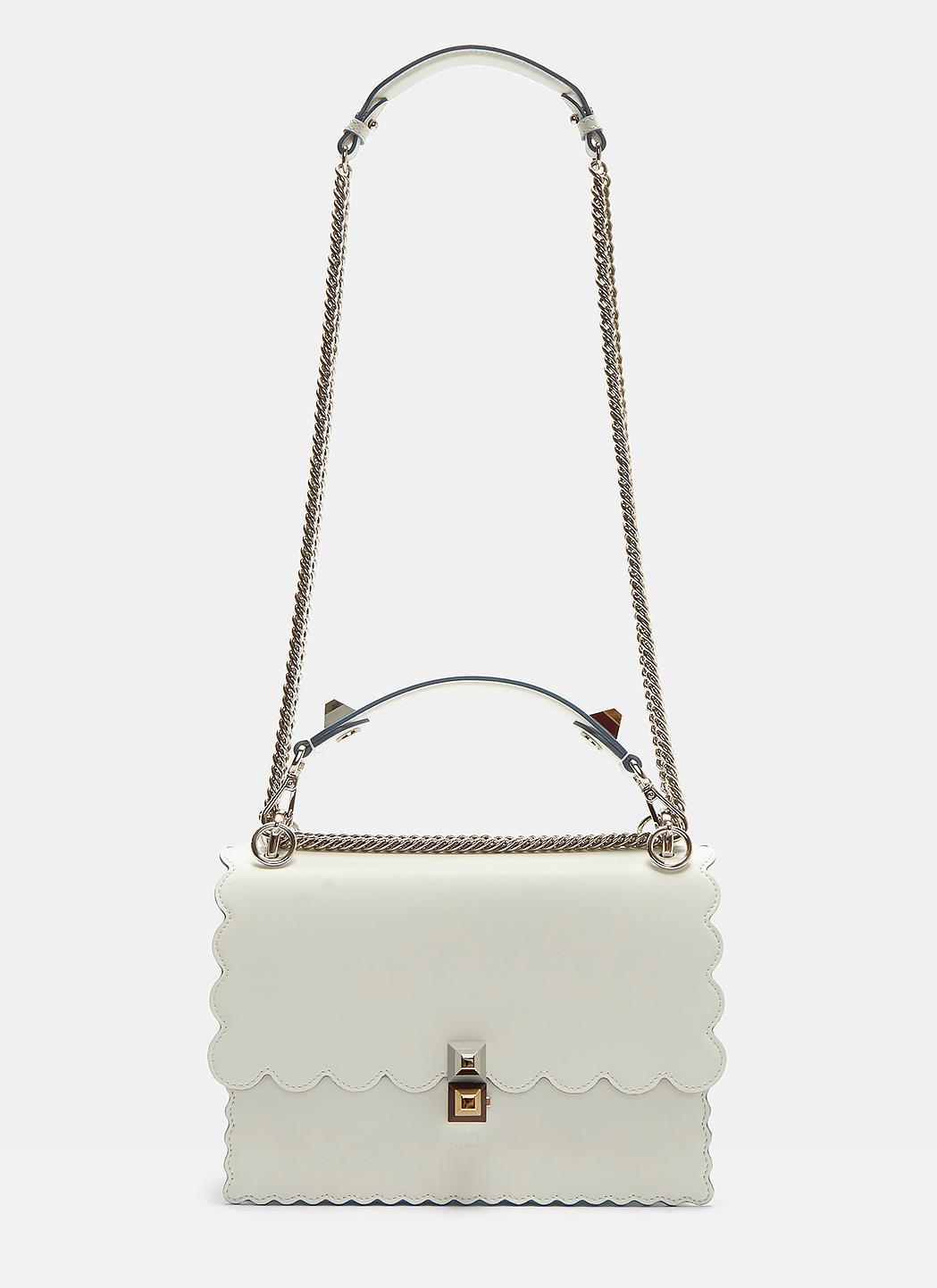 e2d09250ac7 Fendi Kan I Medium Leather Shoulder Bag In White in White - Lyst