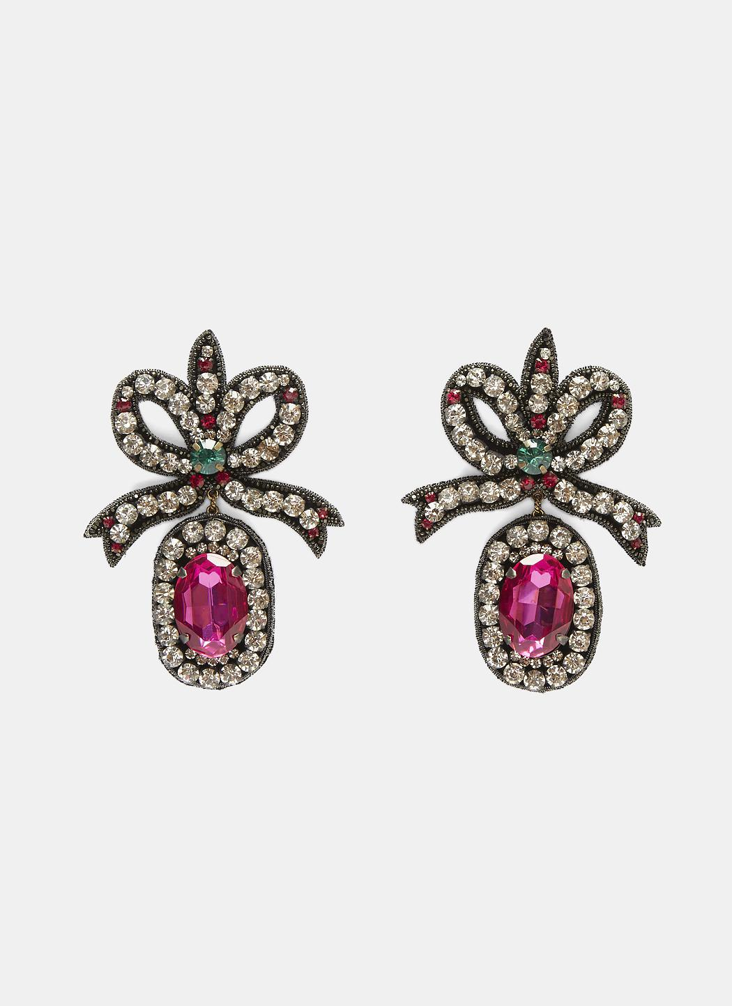 Gucci Women S Crystal Embroidered Bow Earrings In Black And Pink