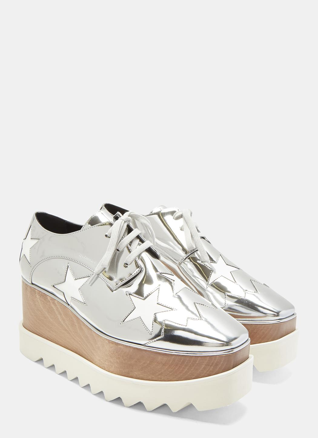 Stella Mccartney Elyse Stars Metallic Platform Shoes In Silver in ... d373442131a4