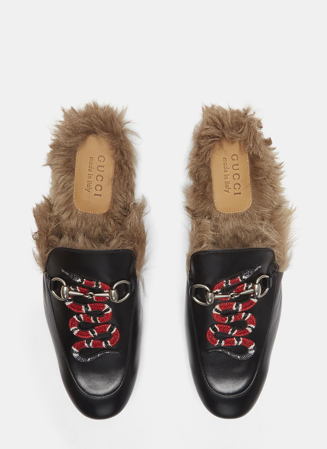 90bb7e103a8 Lyst - Gucci Princetown Kingsnake Slipper Shoes In Black in Black ...