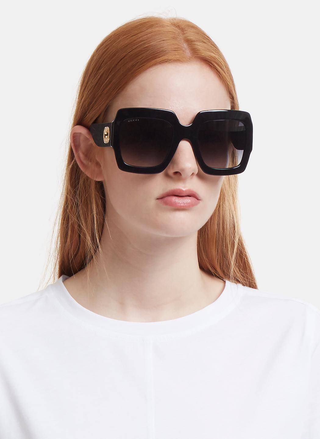 63842a7d698 Oversize Square-frame Acetate Sunglasses With Web Gucci