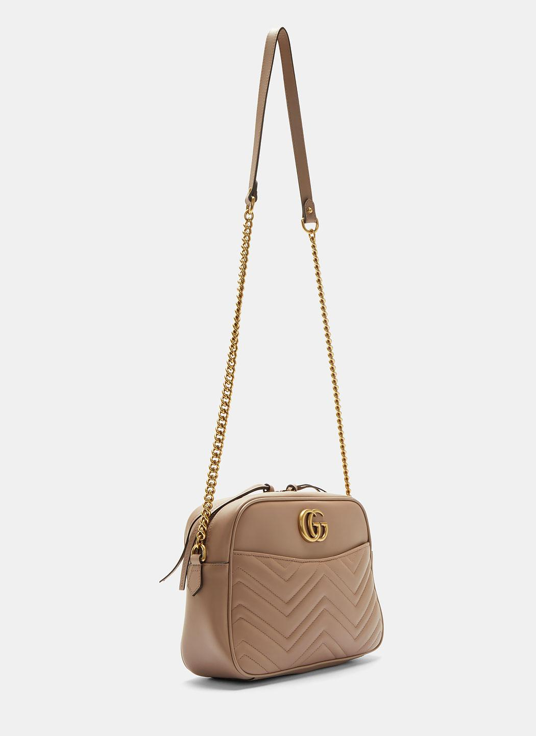 49705f203ef3a Lyst - Gucci Gg Marmont Matelassé Medium Shoulder Bag In Taupe in ...