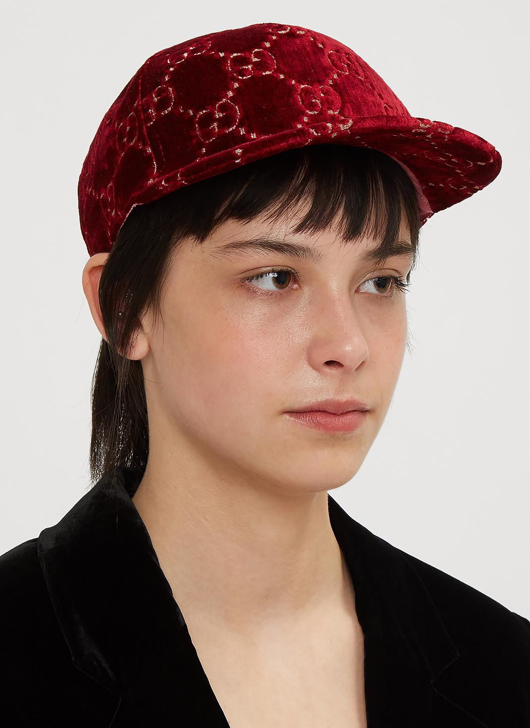 baf7ac7554d99 Gucci - Red GG Velvet Baseball Cap In Burgundy - Lyst. View fullscreen