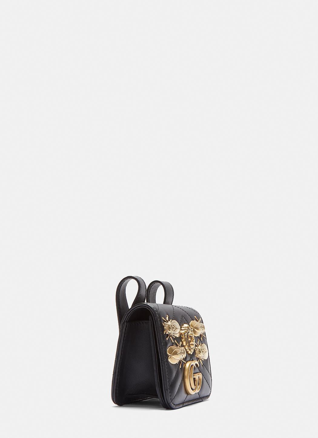 c09417870722 Lyst - Gucci Mini Marmont Animal Stud Belt Bag In Black in Black