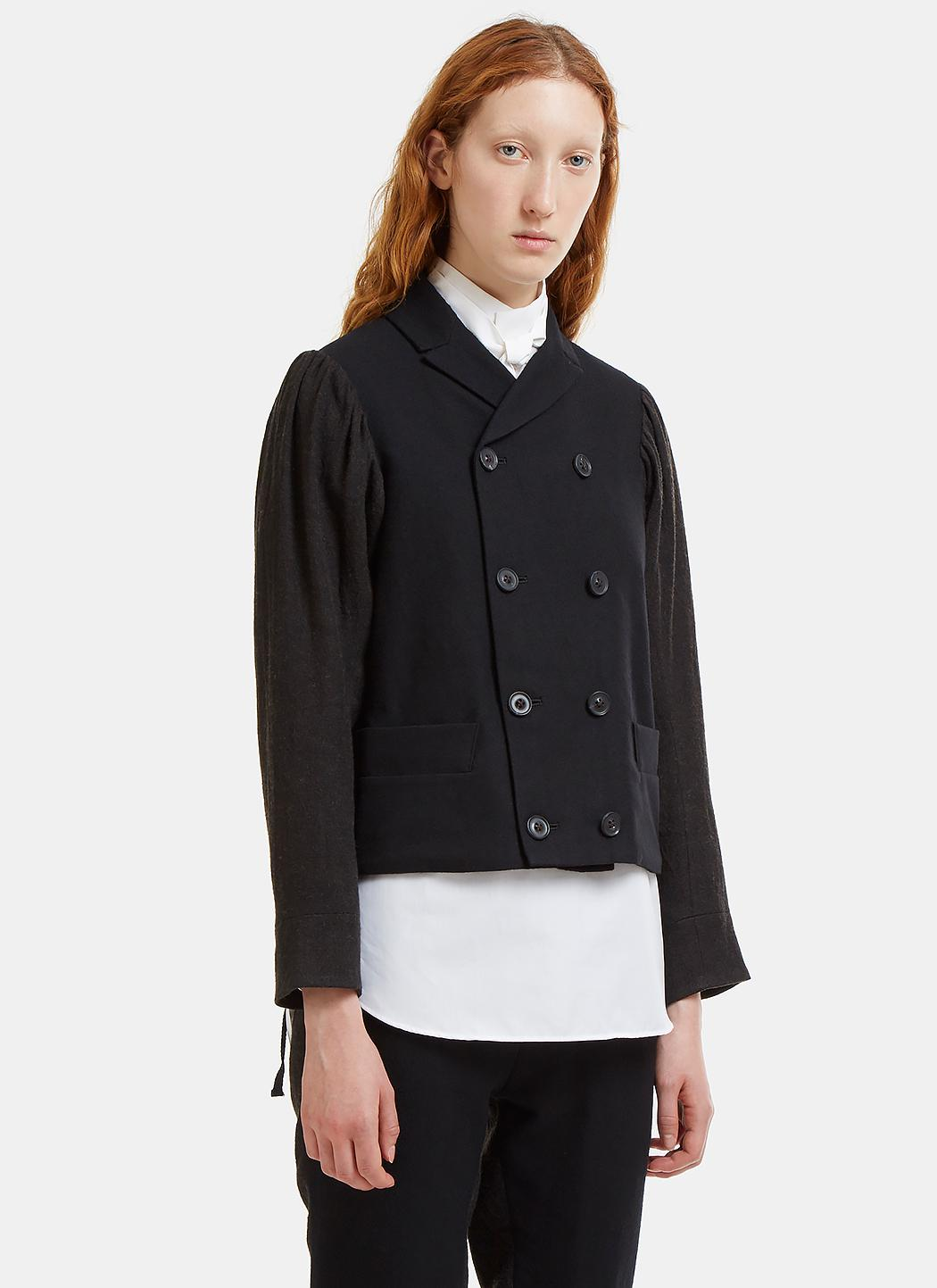 John Double-Breasted Contrast Blazer Jacket École de Curiosités TOsh2sM