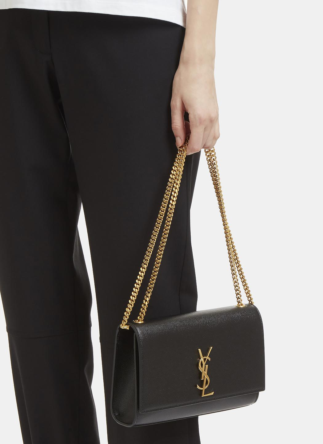 256070c61256 Lyst - Saint Laurent Medium Kate Grain De Poudre Chain Bag In Black ...