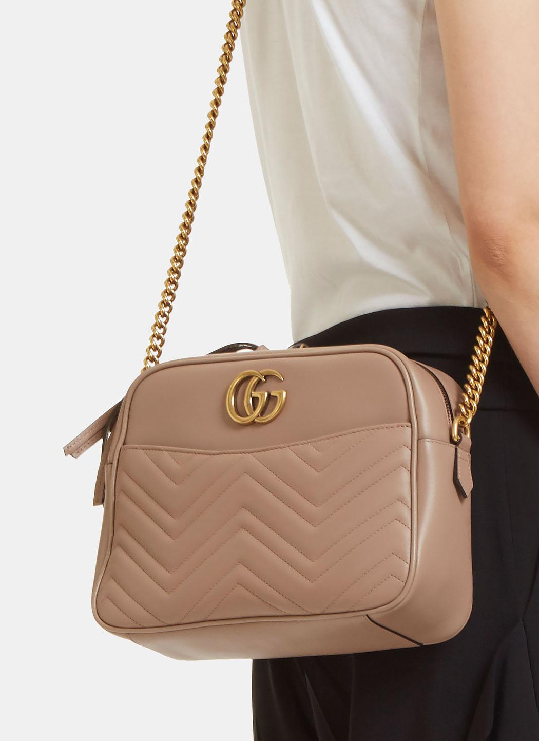 Gucci Gg Marmont Matelass 233 Medium Shoulder Bag In Taupe In