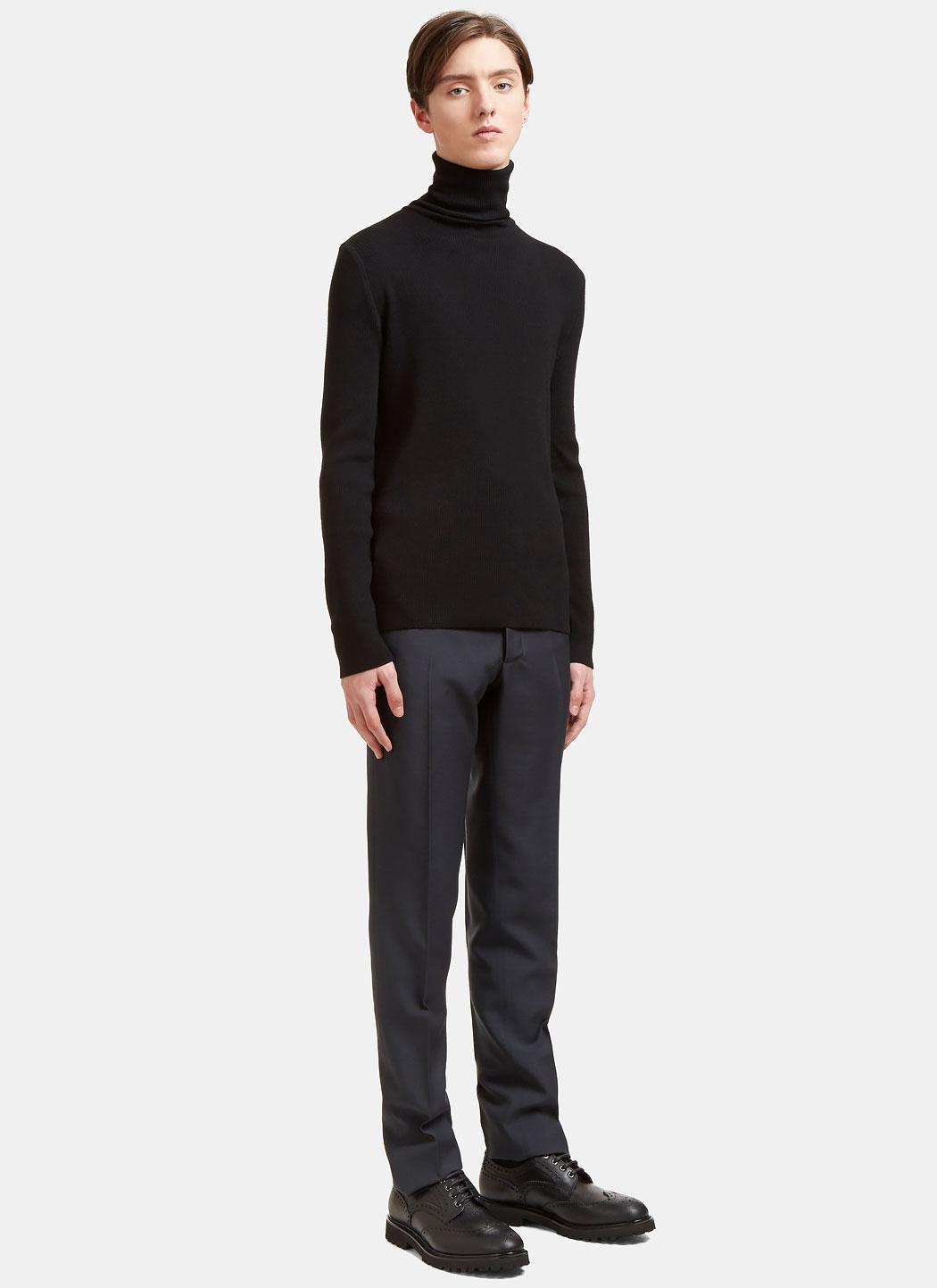 a984cd9d9 Aiezen - Men s Ribbed Polo Neck Sweater From Ss15 In Black for Men - Lyst.  View fullscreen
