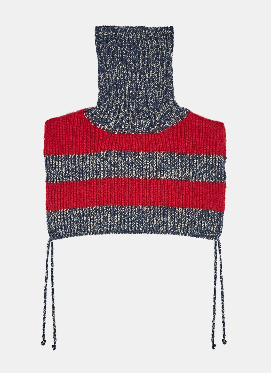 Lyst Gucci Mens Striped Knit Roll Neck Scarf In Navy And Red In