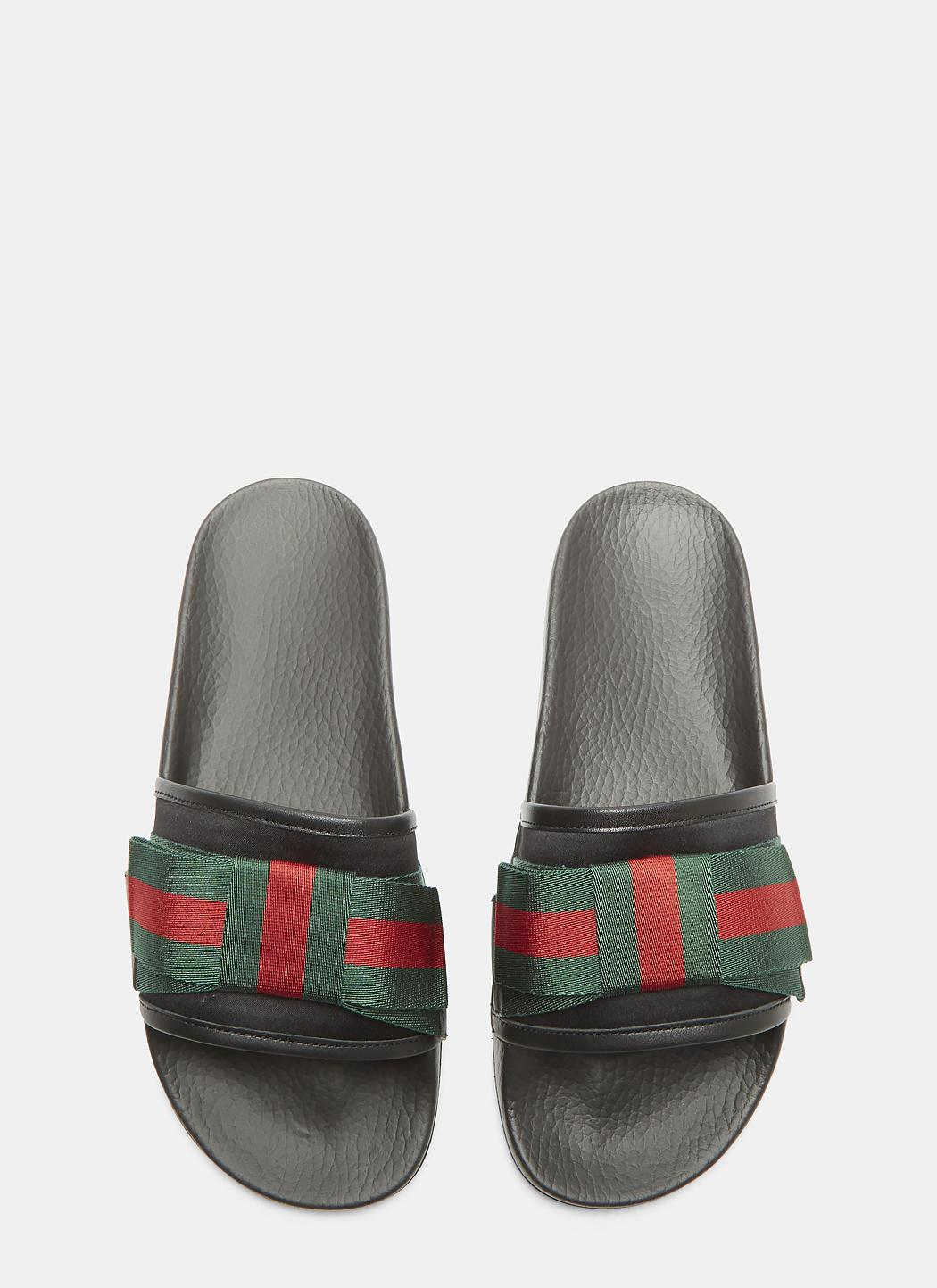 Satin Web Bow Slip-On Sandals Gucci