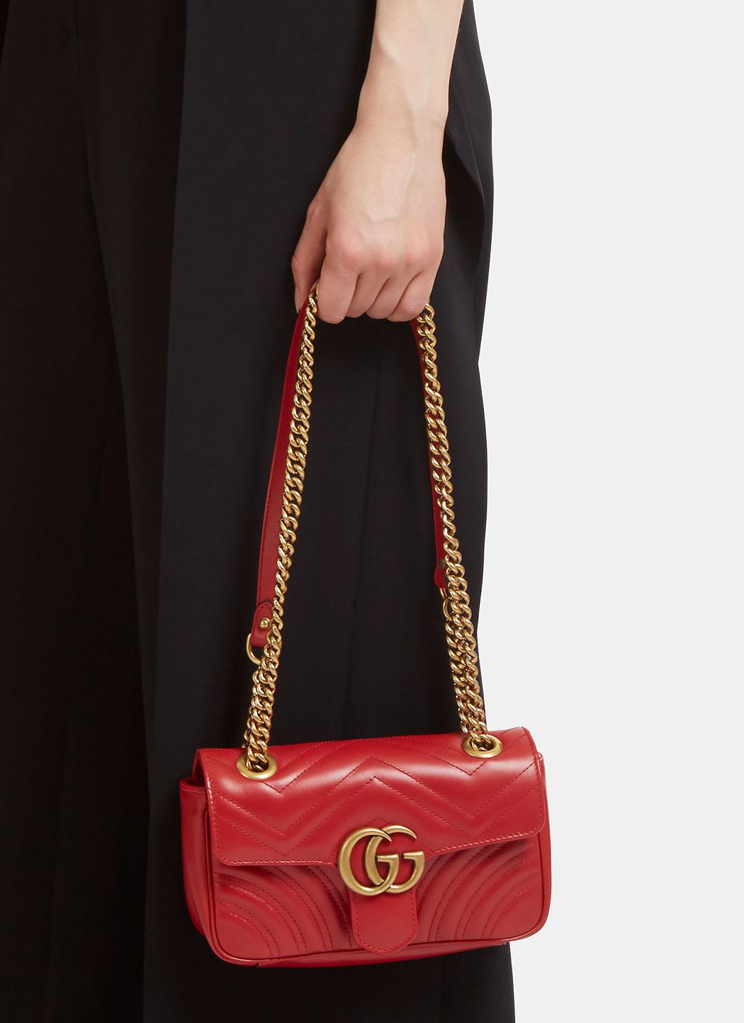 ebec135967b Lyst - Gucci Gg Marmont Matelassé Mini Chain Shoulder Bag In Red in Red