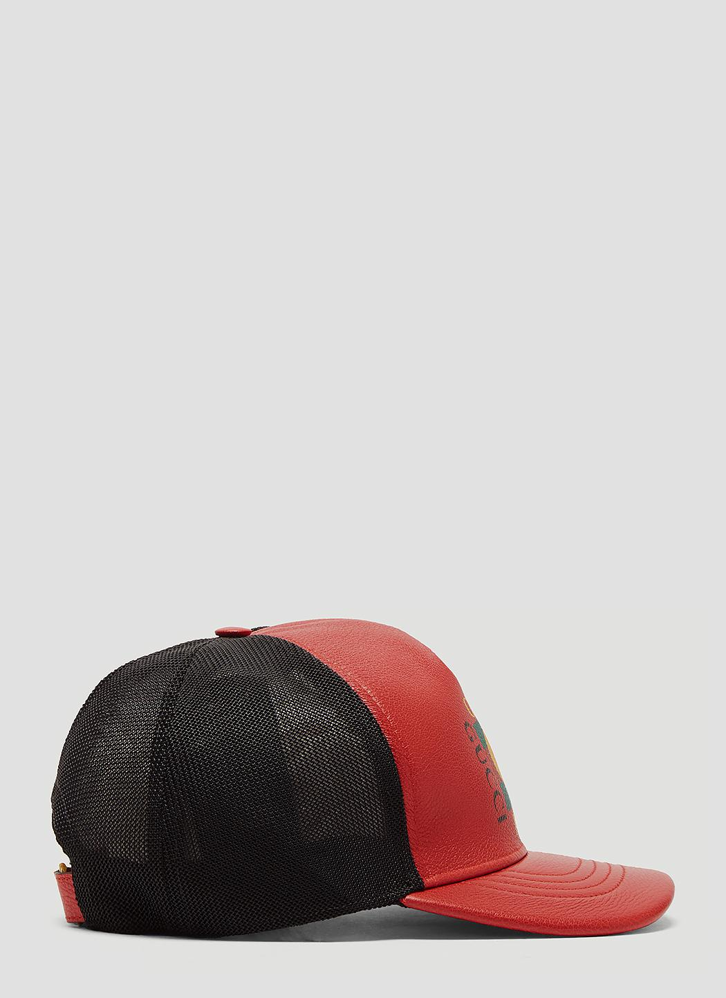 a0f10327a19 Gucci - Logo Print Leather Baseball Hat In Red for Men - Lyst. View  fullscreen