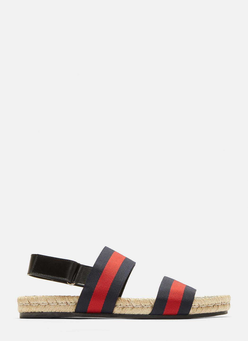 bda777f4329 Lyst - Gucci Web-stripe Sandals in Blue for Men