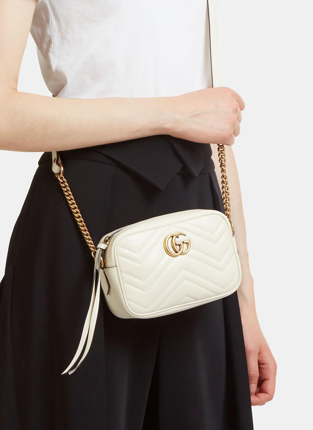 Lyst Gucci Gg Marmont Matelass 233 Mini Bag In Ivory In White