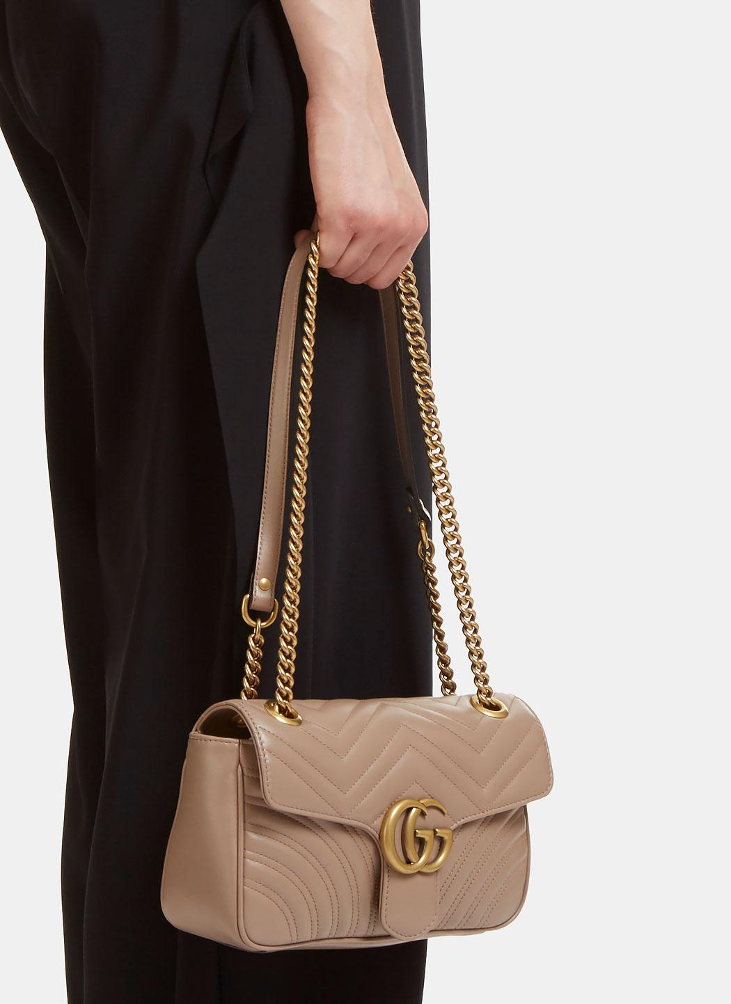 64187707a5b Lyst - Gucci Gg Marmont Matelassé Small Chain Shoulder Bag In Taupe ...