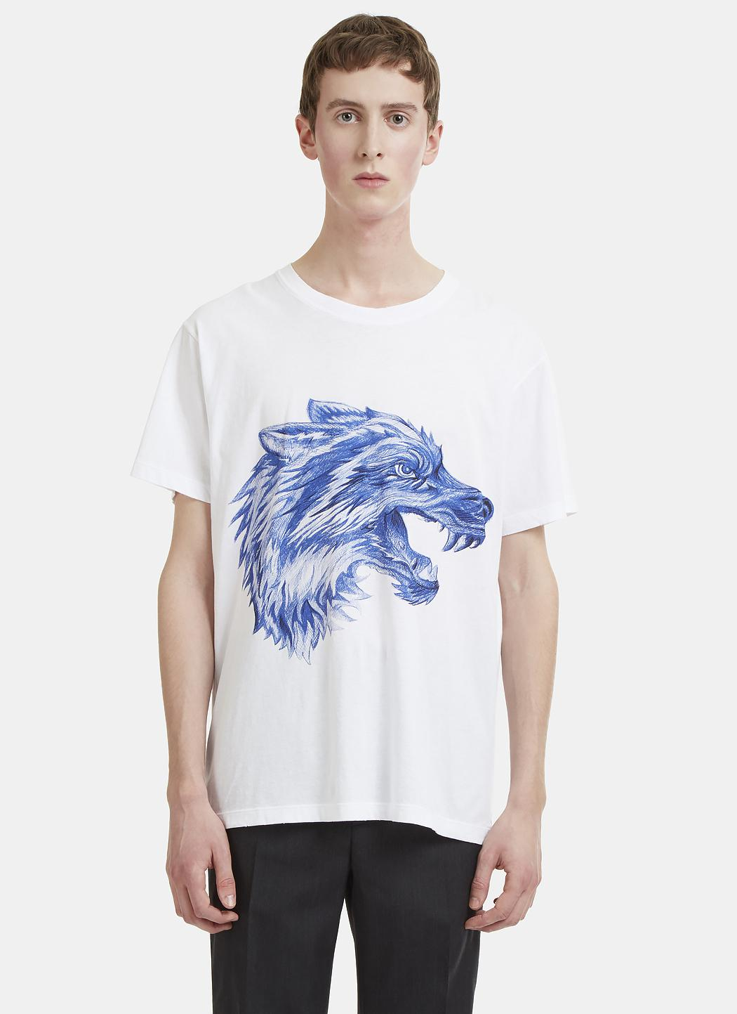 7dd5810f9a4 Gucci Doodle Wolf Print T-shirt In White in White for Men - Lyst