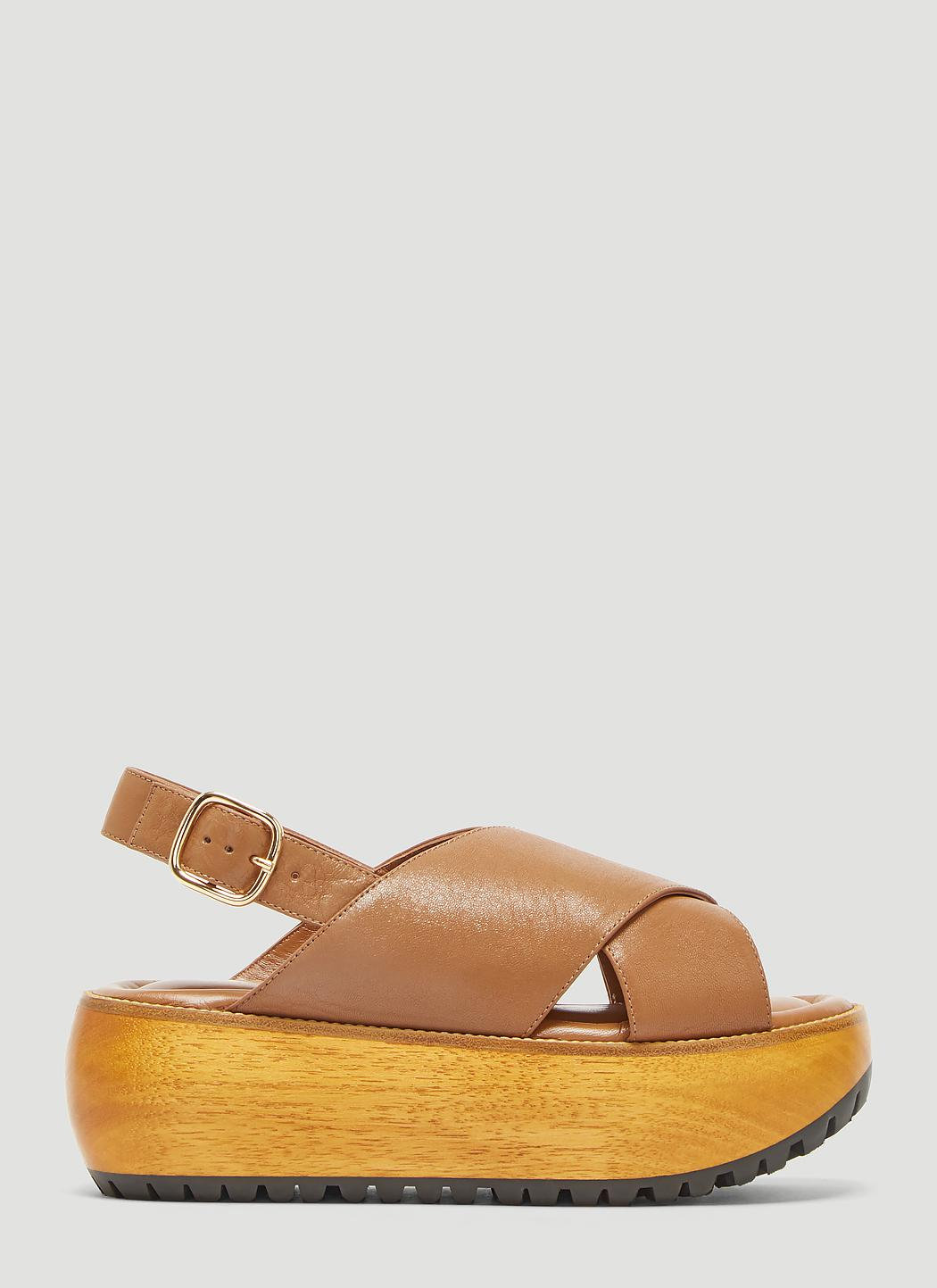 6442e1db5dc Marni Criss-cross Wedge Sandals In Brown in Brown - Lyst