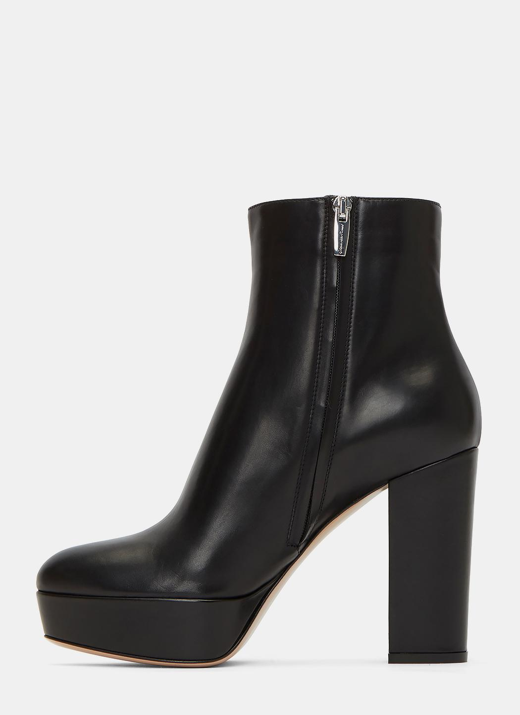 gianvito rossi temple leather platform ankle boots in black lyst. Black Bedroom Furniture Sets. Home Design Ideas
