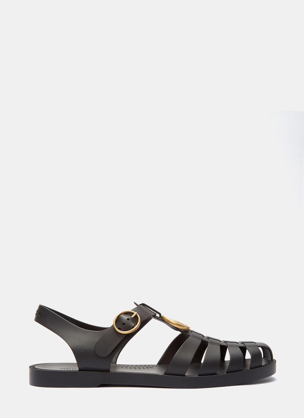 35975d45446 Lyst - Gucci Men s Tiger Head Rubber Buckle Sandals In Black in Black