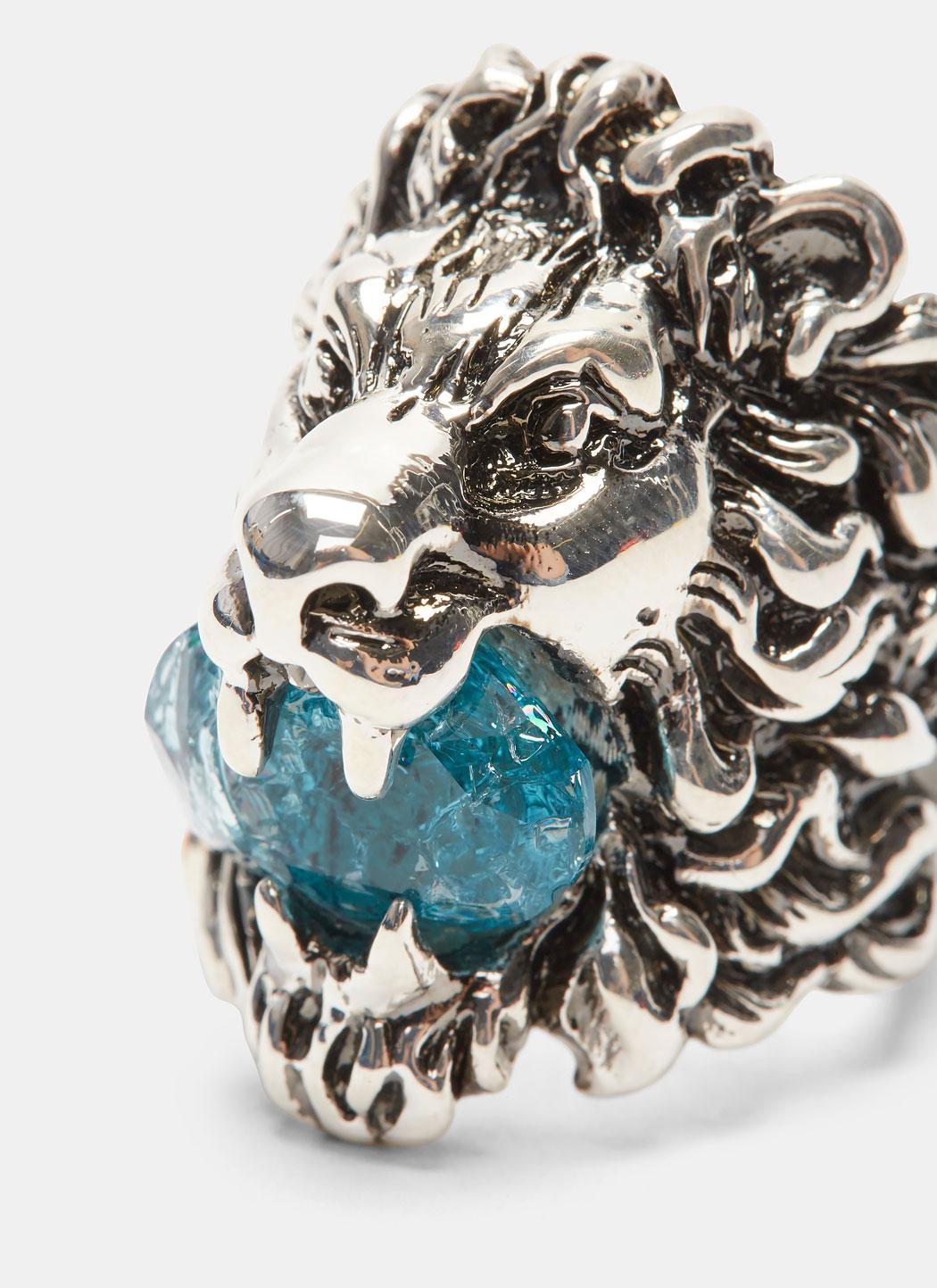 165b59040b5 Lyst - Gucci Men s Lion Head Crystal Ring In Silver in Metallic for Men