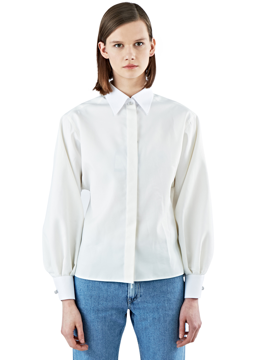 Lanvin Women 39 S Stiff Rounded Shirt In Ivory In White Lyst