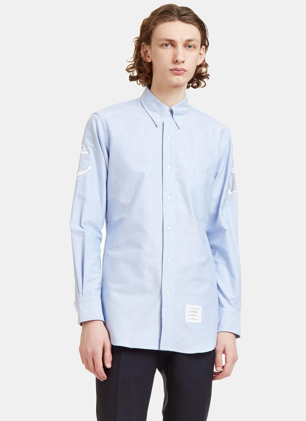 Thom browne men 39 s anchor embroidered oxford shirt in blue for Mens blue oxford shirt