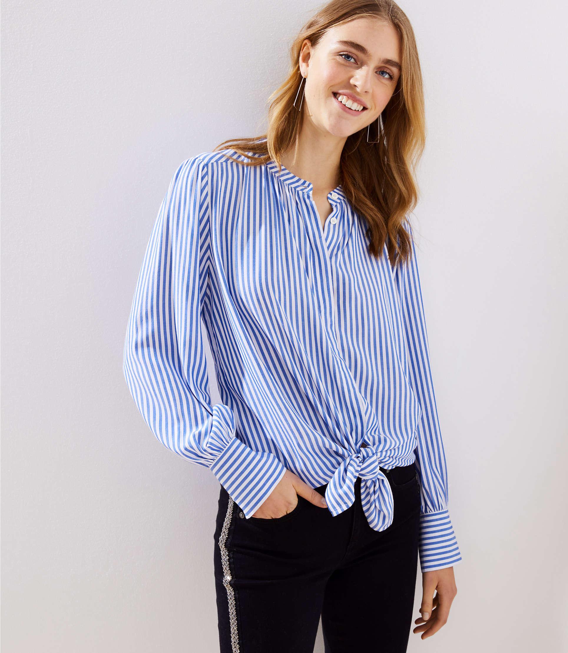 7eb5c14641606 Lyst - LOFT Striped Crossover Yoke Shirt in Blue