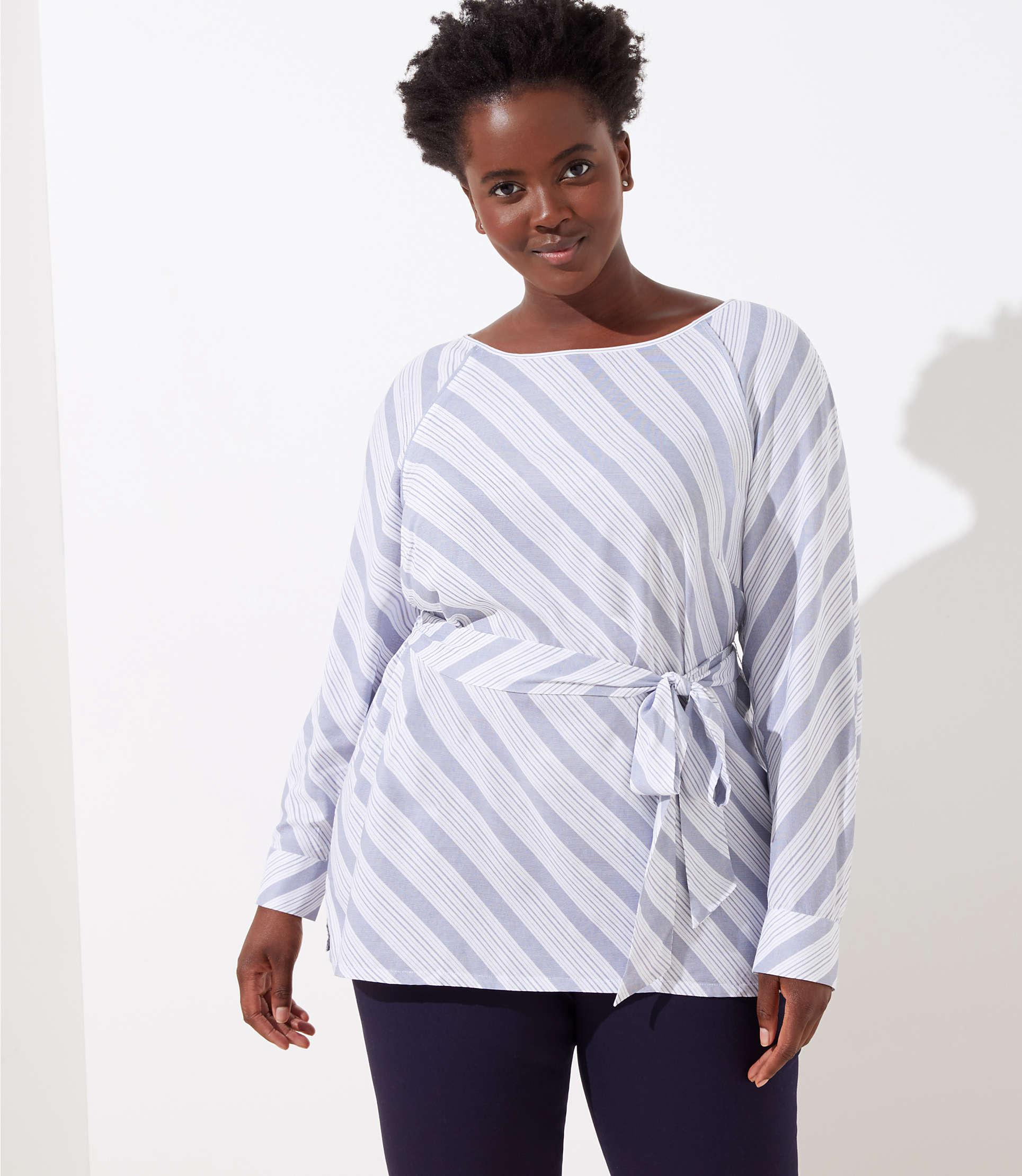 aa3ea5c7f099d Lyst - LOFT Plus Striped Tie Waist Blouse in White