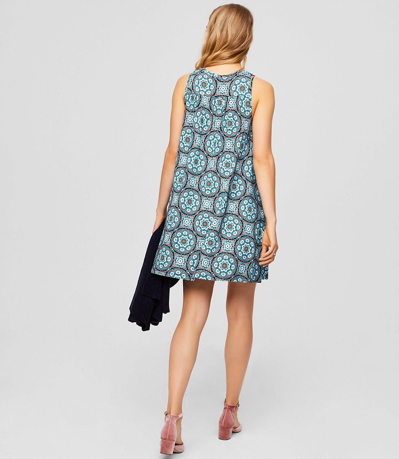 91bfab459ecdf LOFT Petite Medallion Sleeveless Swing Dress in Blue - Lyst