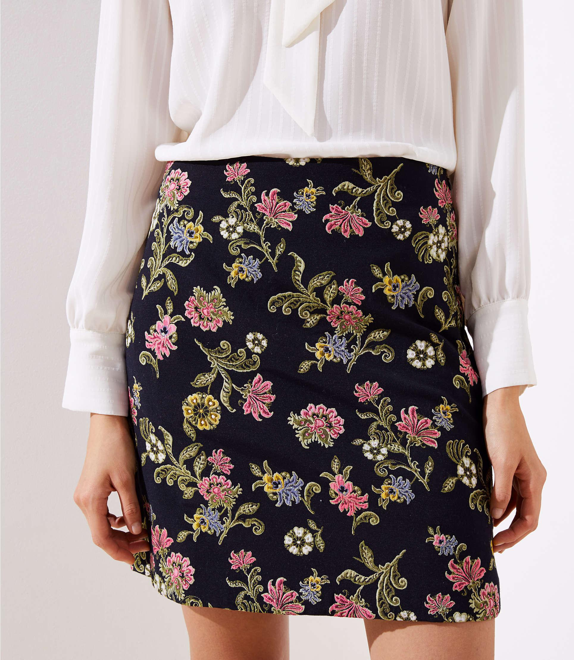 44bbf223f93 LOFT - Black Floral Vine Jacquard Shift Skirt - Lyst. View fullscreen