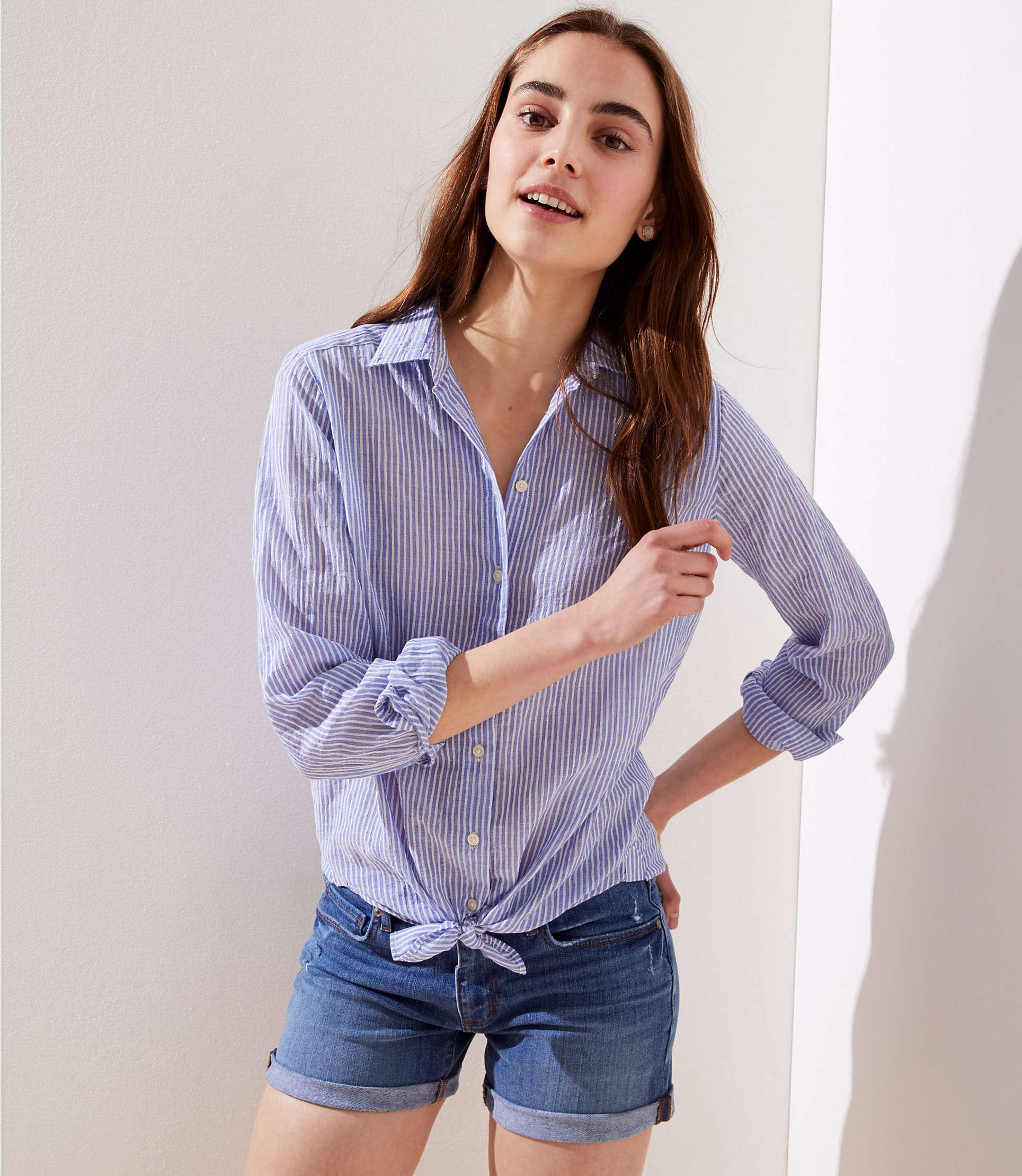fe2d671a26f LOFT Petite Striped Button Down Tunic Shirt in Blue - Lyst