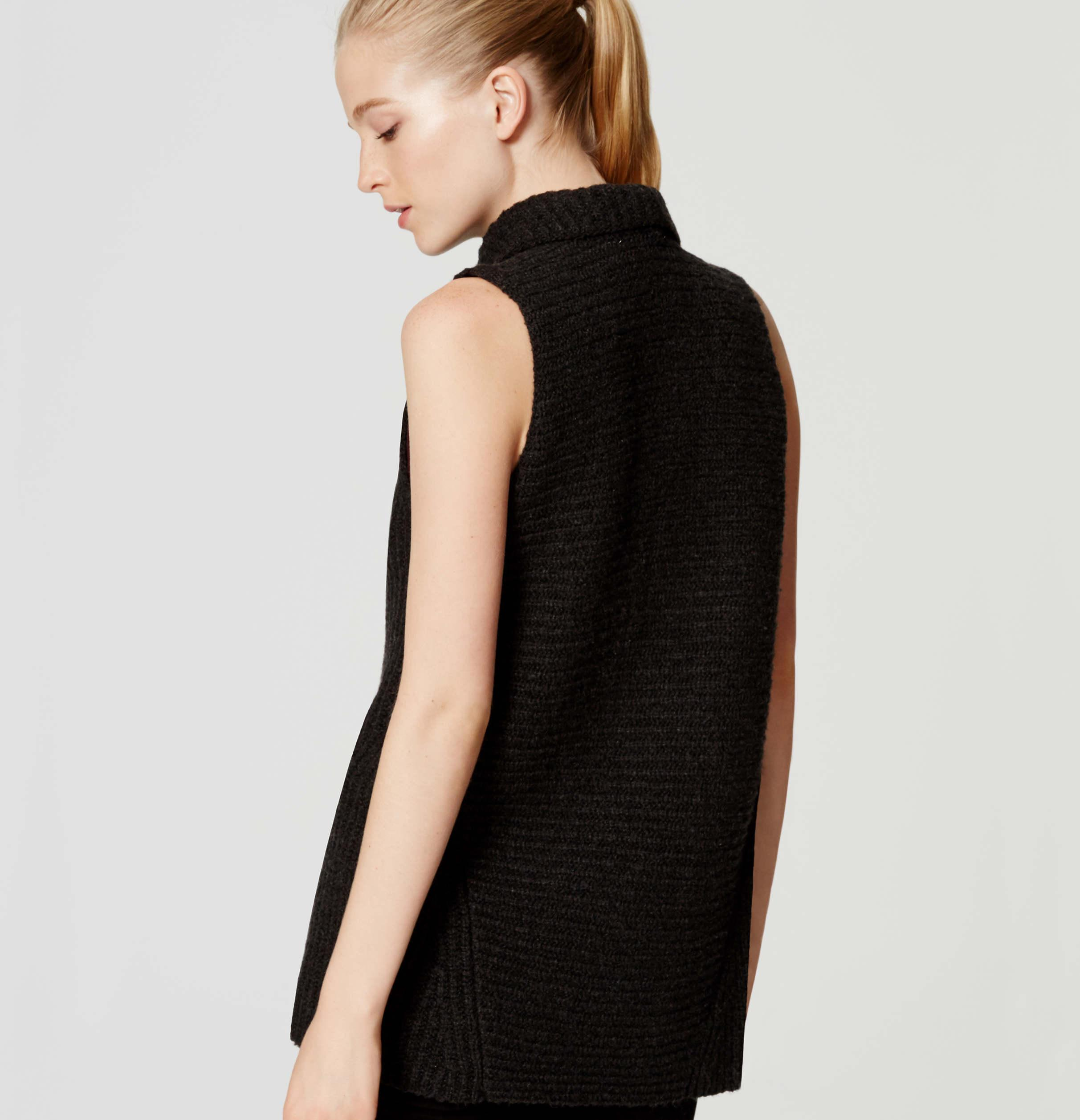 Loft Ribbed Sweater Vest in Black | Lyst