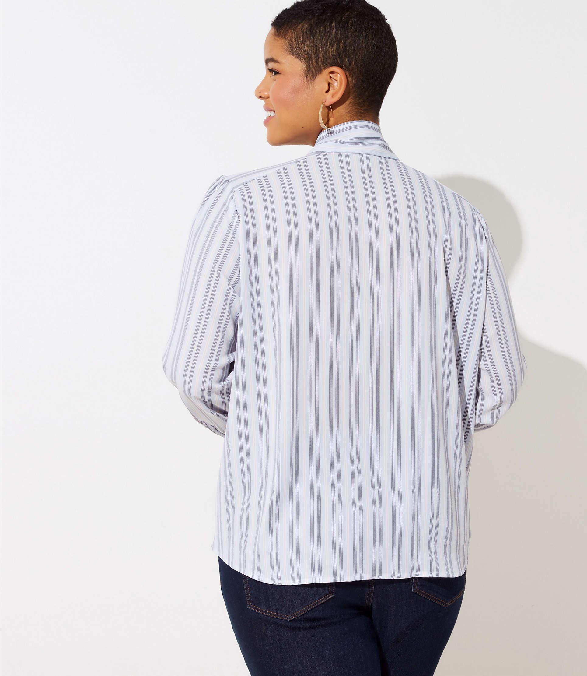 7e159a3c28abb LOFT - Multicolor Plus Striped Tie Neck Blouse - Lyst. View fullscreen