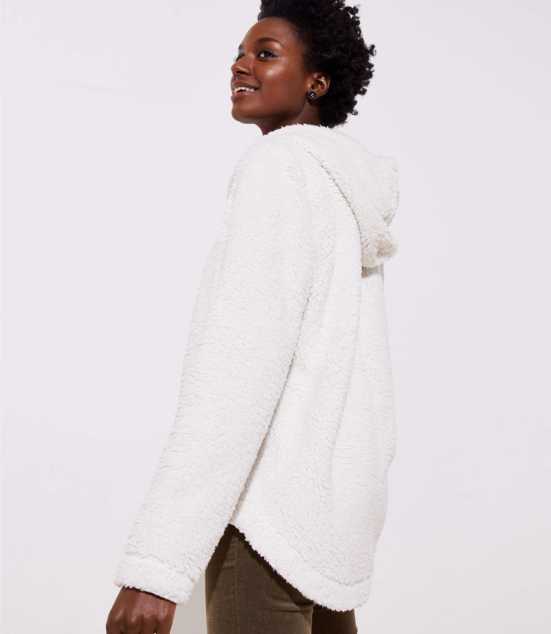 1d6284cf5a LOFT Faux Sherpa Open Hoodie in White - Lyst