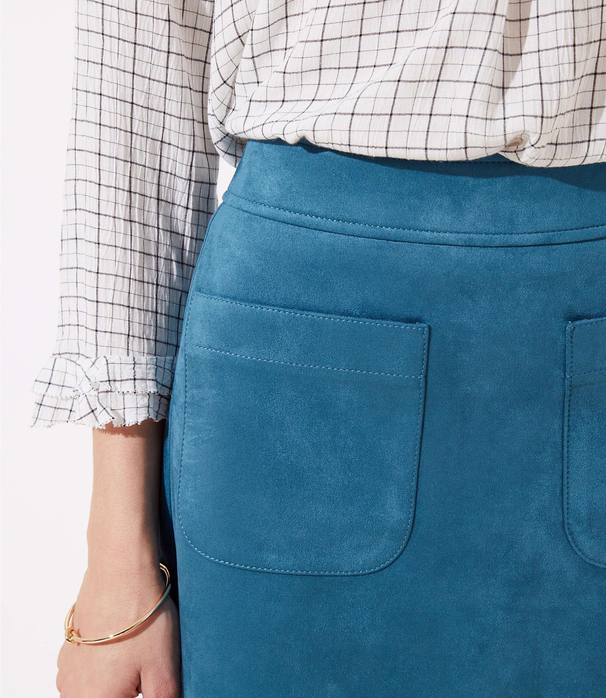 1dcce8c4e LOFT Faux Suede Pocket Shift Skirt in Blue - Lyst