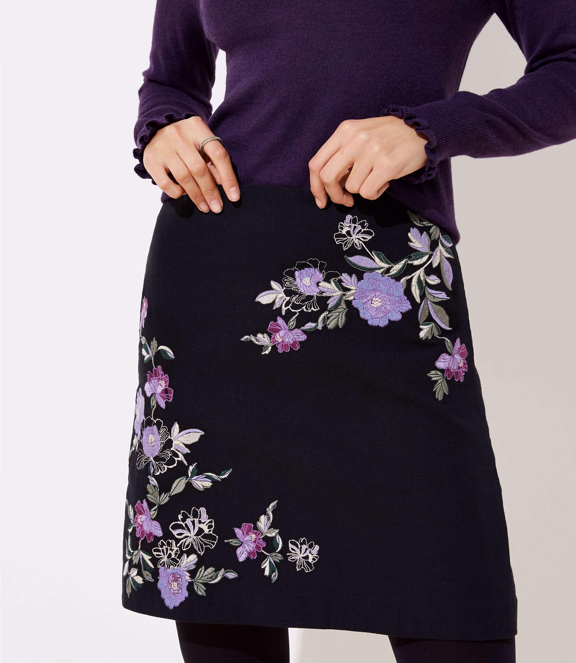 194162d743c9d Lyst - LOFT Floral Embroidered Shift Skirt in Black