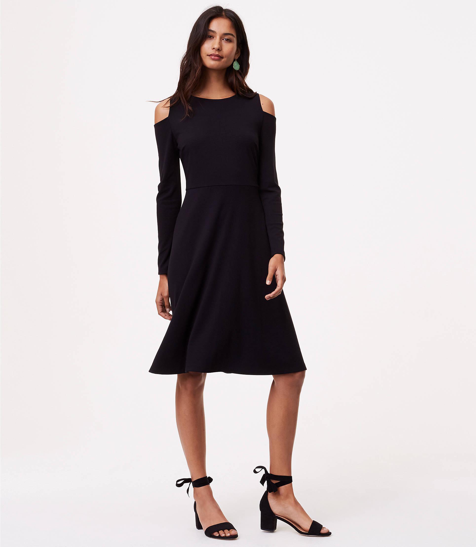 Lyst - Loft Petite Cold Shoulder Flare Dress in Black