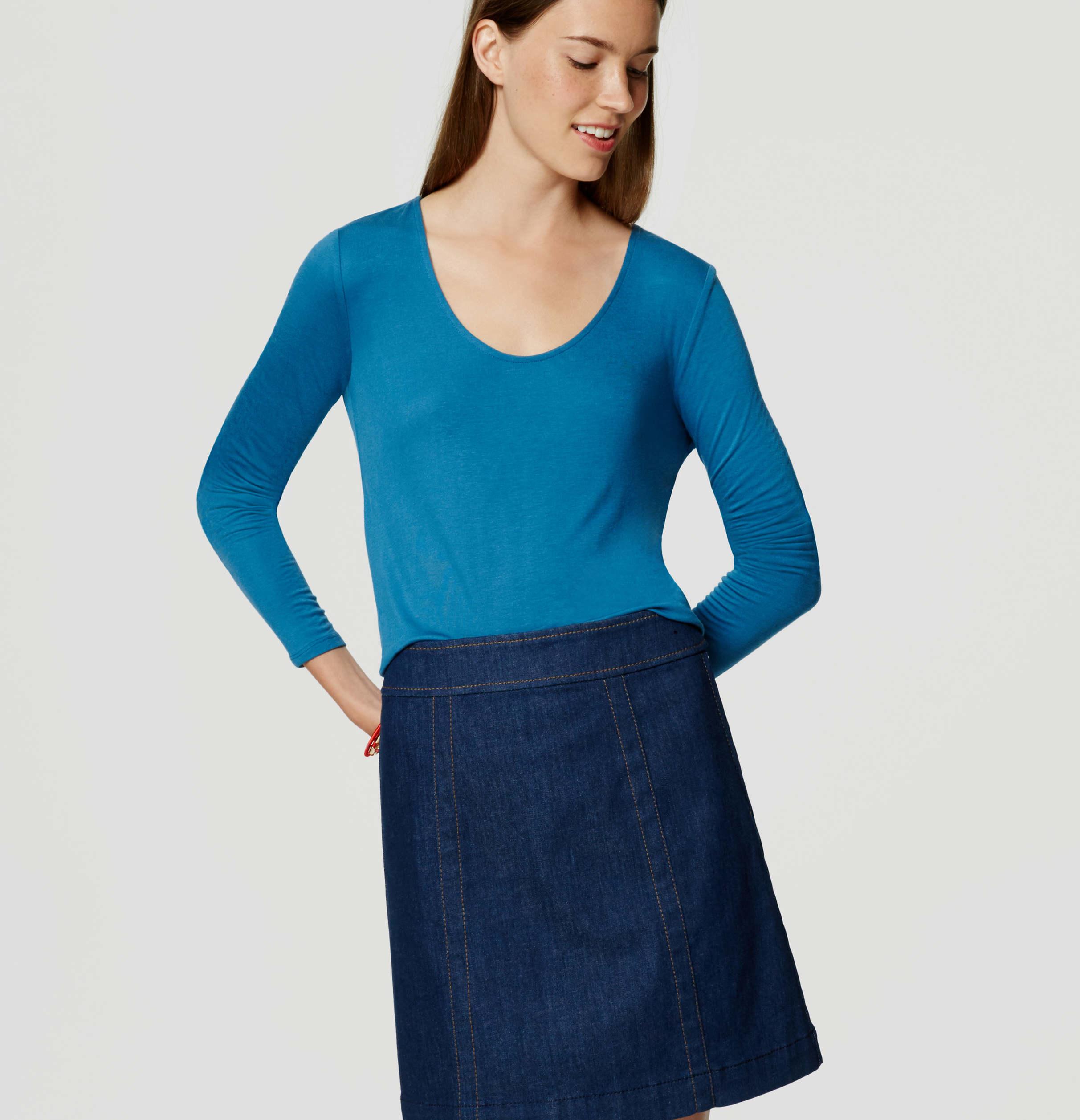 Loft long sleeve scoop neck tee in blue lyst for Long sleeve scoop neck shirt