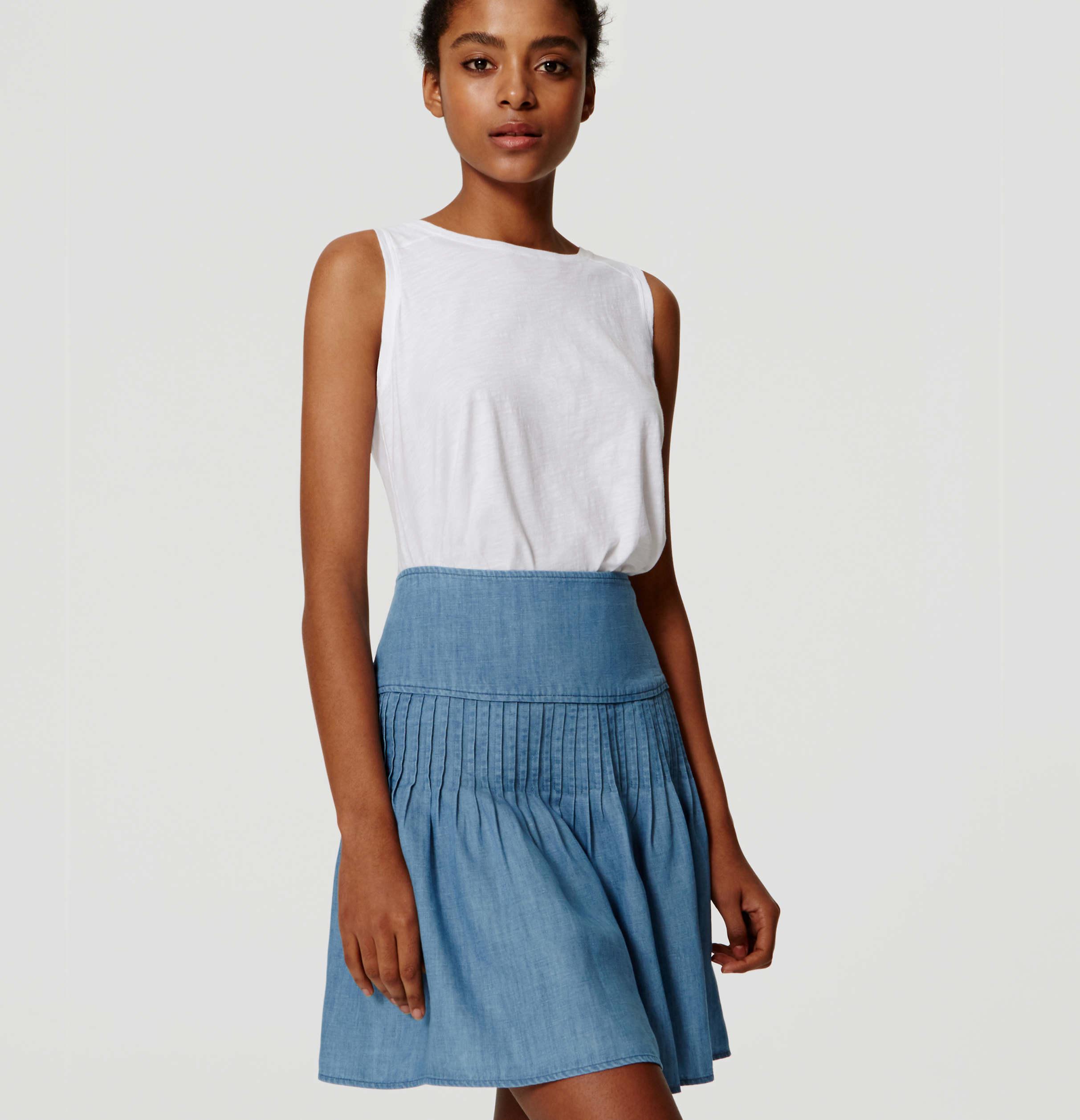 435a513137c61e LOFT Chambray Flippy Skirt in Blue - Lyst