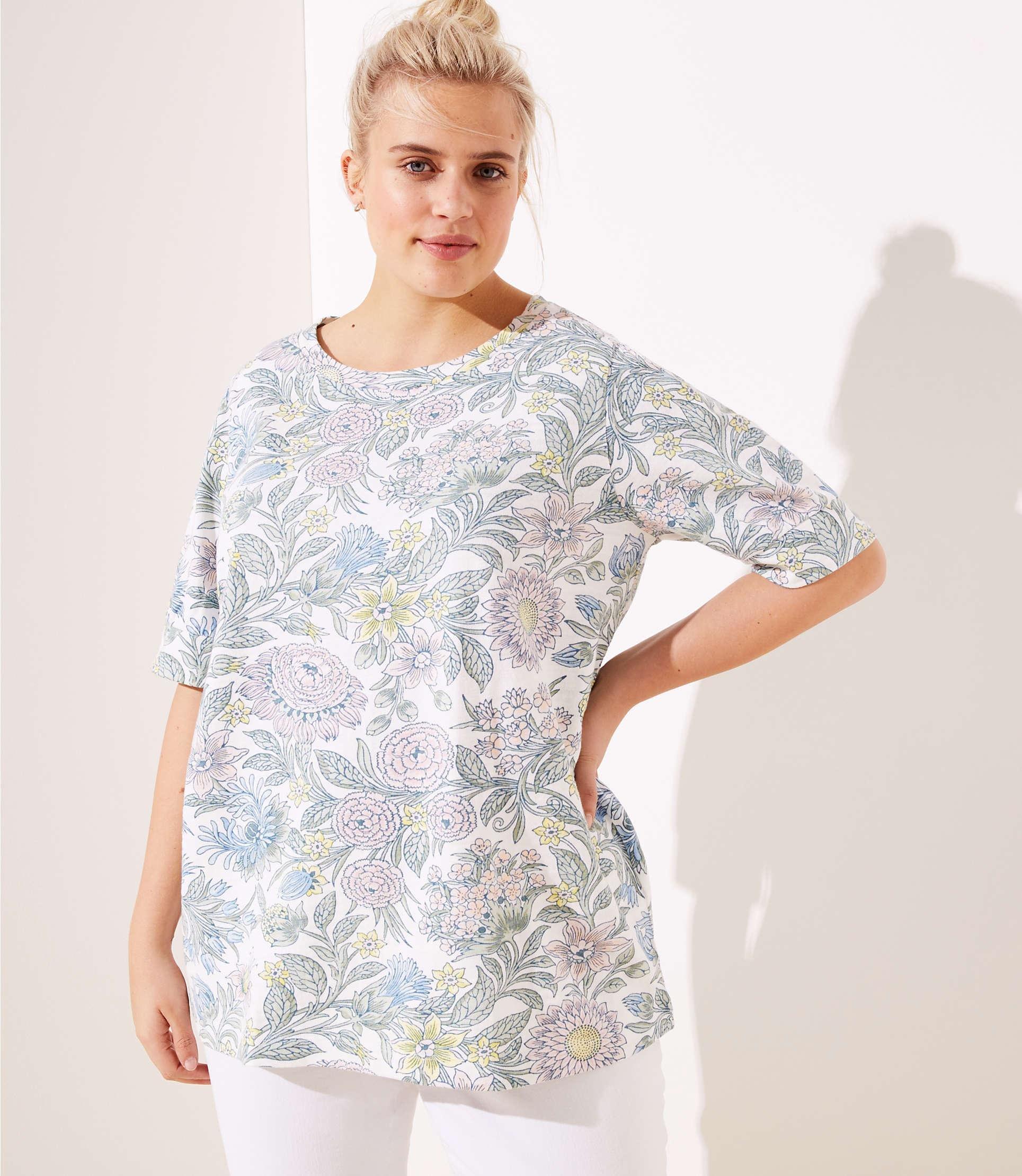 5b0535312e Lyst - LOFT Plus Floral Sweatshirt Tee in White