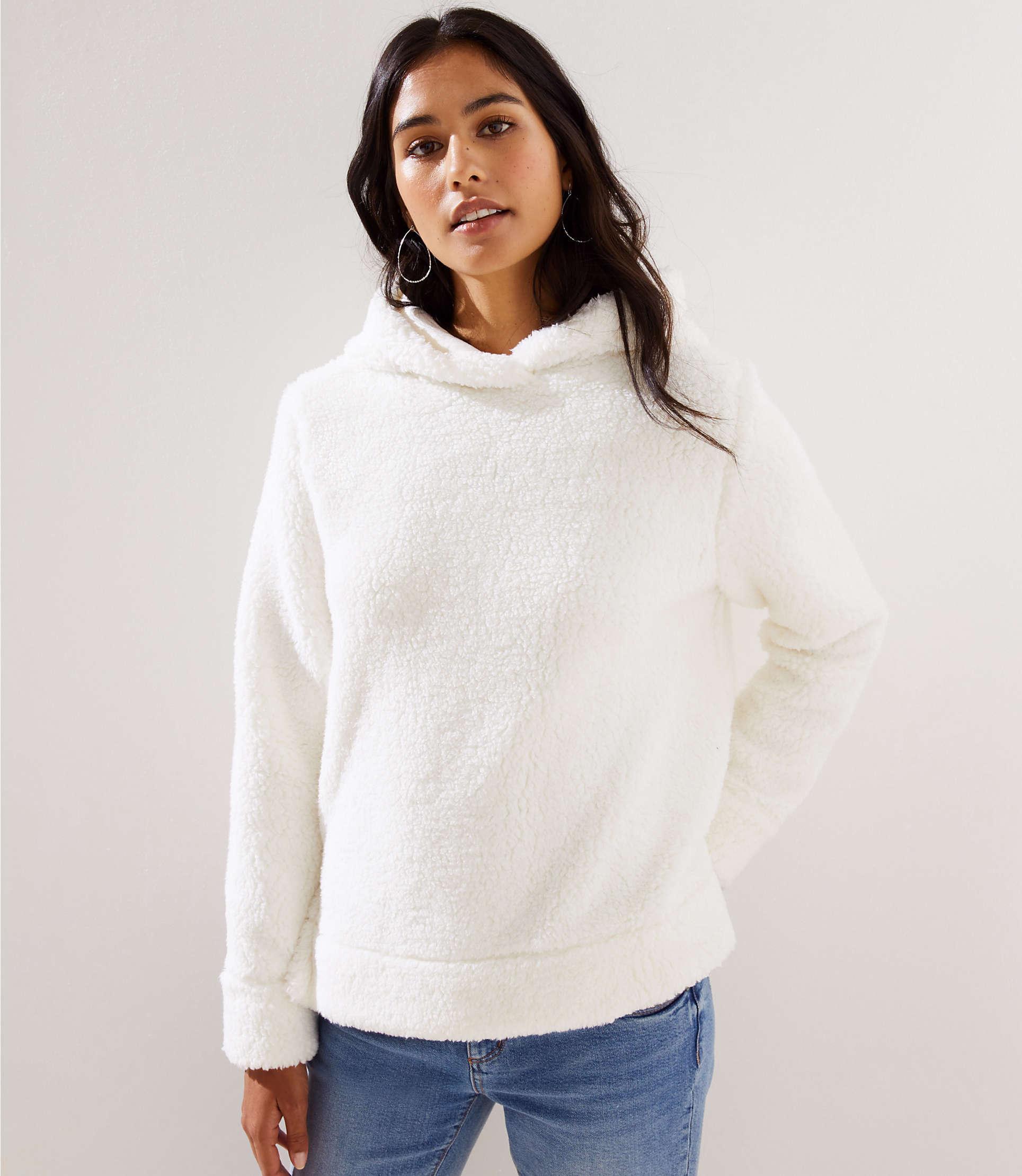 857ad4df73 Lyst - LOFT Faux Sherpa Hoodie in White
