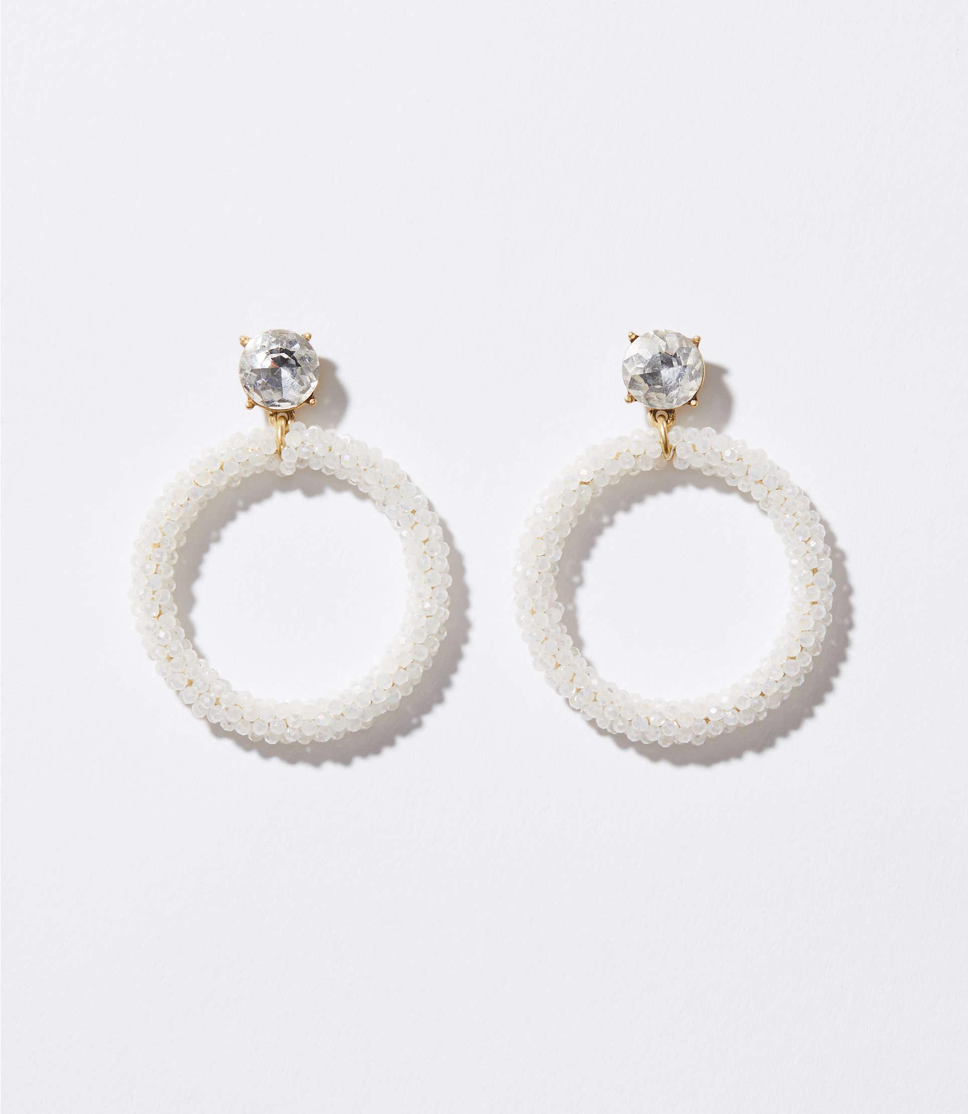 earrings white o beaded ranjana exclusive khan ranjanakhan m pin hoop
